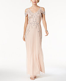 Adrianna Papell Petite Cold-Shoulder Beaded Gown