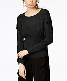Bar III Ribbed Drawstring Sweater, Created for Macy's
