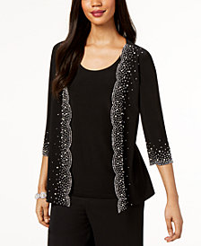 MSK Beaded Mock 2-Pc. Jacket & Top