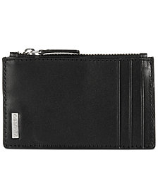 Calvin Klein Men's Smooth Shine Zip Leather Card Case