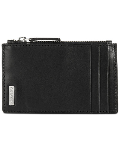 Calvin Klein Men's Smooth Shine Zip Leather Card Case