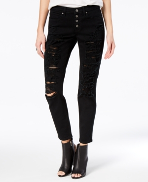 Black Daisy Juniors Jamie Ripped Cuffed Relaxed Fit Girlfriend Jeans