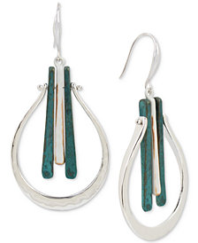 Robert Lee Morris Soho Tri-Tone Hammered Drop Earrings
