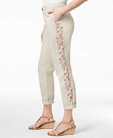 Style & Co Embroidered Boyfriend Pants, Created for Macy's