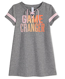 Ideology Game Changer Graphic Lace-Up Dress, Little Girls, Created for Macy's