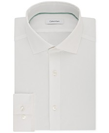 Men's STEEL Slim-Fit Non-Iron Performance Stretch Spread Collar White Dress Shirt
