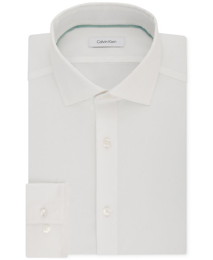 Calvin Klein - Men's STEEL Slim-Fit Non-Iron Performance Stretch Jade White Dress Shirt