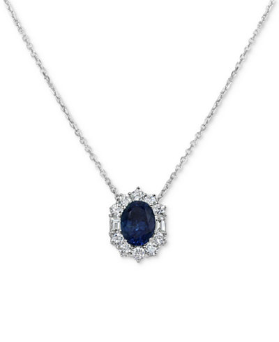 Sapphire (1-1/2 ct. t.w.) & Diamond (5/8 ct. t.w.) Pendant Necklace in 14k White Gold