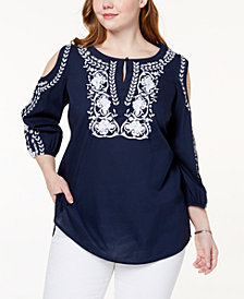 Charter Club Plus Size Cotton Embroidered Cold-Shoulder Peasant Top, Created for Macy's