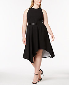 Calvin Klein Plus Size High-Low Fit & Flare Dress