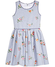 Pink & Violet Embroidered Pinstripe Dress, Big Girls
