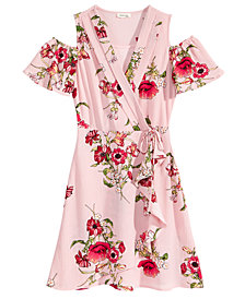 Monteau Cold Shoulder Faux-Wrap Dress, Big Girls