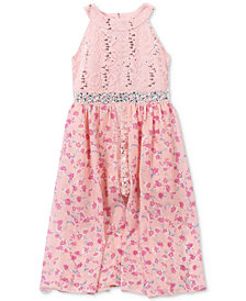 Speechless Floral-Print Sequined-Lace Maxi Dress, Little Girls