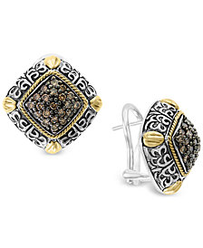 EFFY® Diamond Filigree Square Stud Earrings (5/8 ct. t.w.) in Sterling Silver and 18k Gold