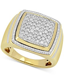 Men's Diamond Two-Tone Cluster Ring (1 ct. t.w.) in 10k Gold