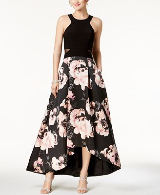 Xscape Solid Floral Print High Low Gown Dresses Women Macys