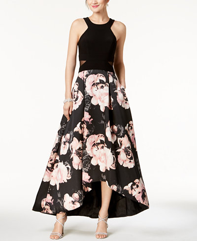 X by Xscape Solid & Floral-Print High-Low Gown