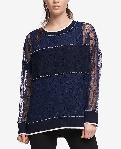 DKNY Sheer Lace Sweatshirt