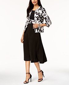 Jessica Howard Metallic-Dot Floral Dress & Jacket