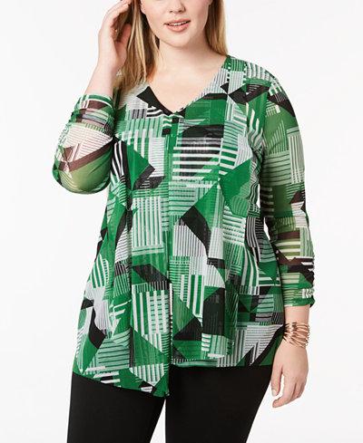 Alfani Plus Size Printed Draped Top, Created for Macy's