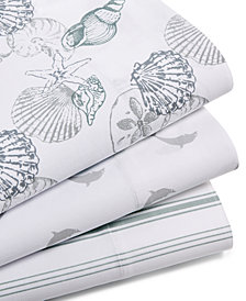 CLOSEOUT! Panama Jack Cotton 300 Thread Count Coastal-Print Sheet Sets