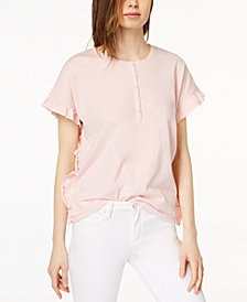 kensie Cotton Ruffle-Trim Top