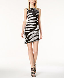 Just Cavalli Mesh-Inset Asymmetrical Dress