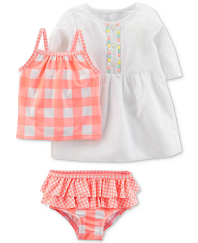 Carter's 3-Pc. Swimsuit & Cover-Up Set, Baby Girls