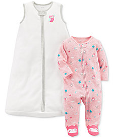 Carter's 2-Pc. Owl Sleep Bag & Footed Coverall Set, Baby Girls