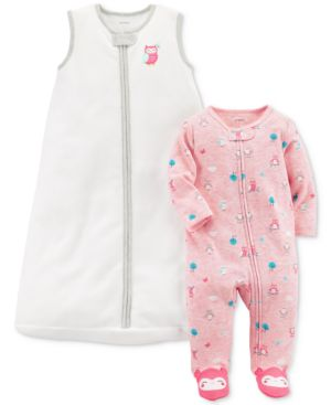 Carter's 2-Pc. Owl Sleep Bag & Footed Coverall Set, Baby Girls 5745161