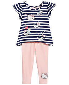 Hello Kitty 2-Pc. Striped Top & Leggings Set, Baby Girls
