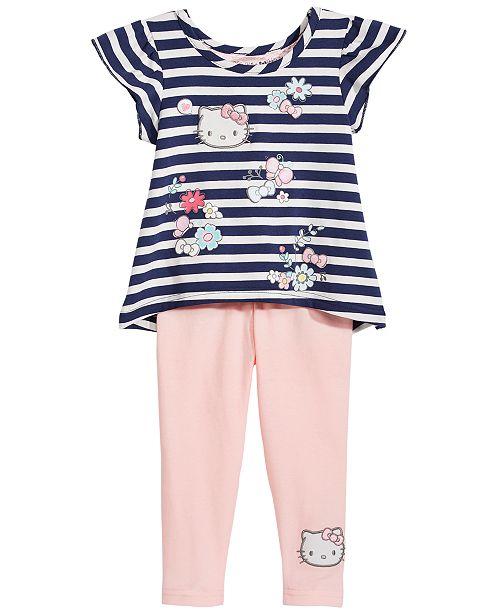 723d8afeb Hello Kitty 2-Pc. Striped Top & Leggings Set, Baby Girls & Reviews ...