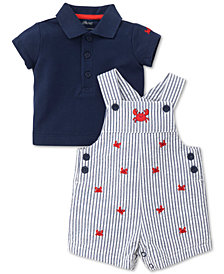 Little Me 2-Pc. Crab Cotton Overall Set, Baby Boys