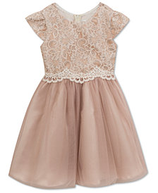Rare Editions Champagne Lace Dress, Baby Girls