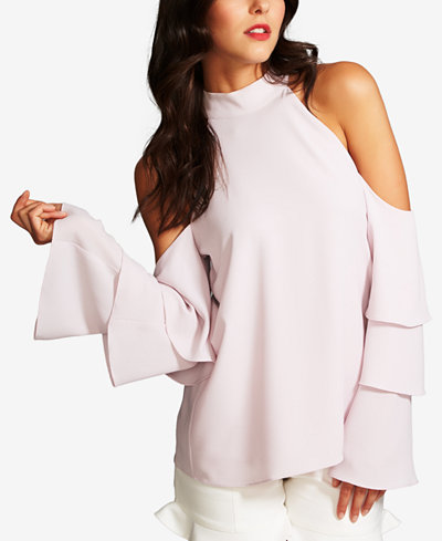 1.STATE Cold-Shoulder Tiered-Sleeve Top