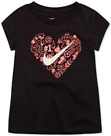 Nike Doodle Heart-Print Cotton T-Shirt, Little Girls