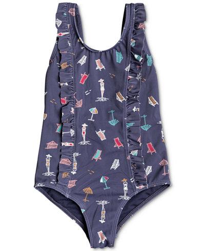 Roxy 1-Pc. Ruffle-Trim Printed Swimsuit, Toddler Girls
