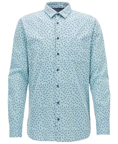 BOSS Men's Slim-Fit Printed Cotton Sport Shirt