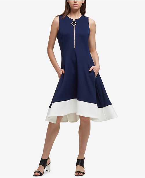194052b2a29 DKNY Zippered Fit   Flare Dress