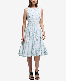 DKNY Floral Wallpaper Fit & Flare Dress, Created for Macy's