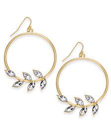 Thalia Sodi Gold-Tone Crystal Leaf Drop Hoop Earrings, Created for Macy's