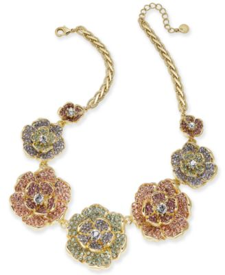 "Gold-Tone Multicolor Crystal Flower Statement Necklace, 17"" + 2"" extender, Created for Macy's"
