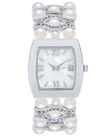 Charter Club Women's Silver-Tone Imitation Pearl & Pavé Bracelet Watch 29mm, Created for Macy'