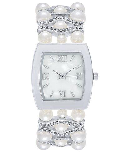 Charter Club Women's Silver-Tone Imitation Pearl & Pavé Bracelet Watch 29mm, Created for Macy'