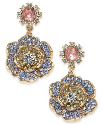 Gold-Tone Crystal & Colored Stone Drop Earrings, Created for Macy's