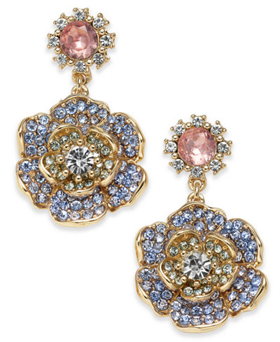 Charter Club Gold-Tone Crystal & Colored Stone Drop Earrings, Created for Macy's