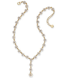 "Charter Club Gold-Tone Crystal & Imitation Pearl Flower Y Necklace, 17"" + 2 extender, Created for Macy's"