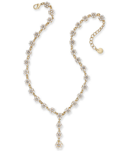 Charter Club Gold-Tone Crystal & Imitation Pearl Flower Lariat Necklace, 17