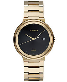 Seiko Men's Solar Essentials Gold-Tone Stainless Steel Bracelet Watch 40mm