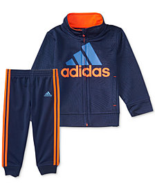 adidas 2-Pc. Amplified Net Embossed Jacket & Pants Set, Little Boys